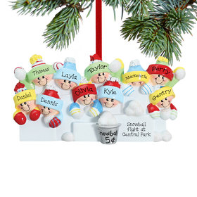 Personalized Snowball Fight 10 Christmas Ornament