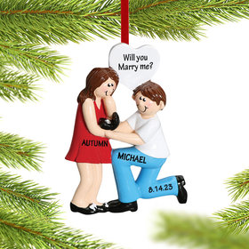Personalized Engagement Couple with Ring Box Christmas Ornament