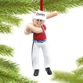 Personalized Baseball Player in Batting Helmet Christmas Ornament
