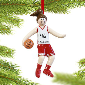 Personalized Basketball Player Girl Christmas Ornament