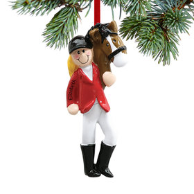 Personalized Equestrian with Horse Christmas Ornament