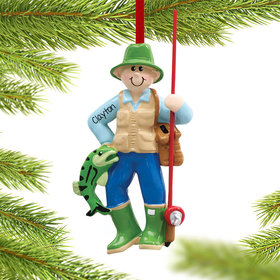 Personalized Fisherman with Fishing Pole Christmas Ornament