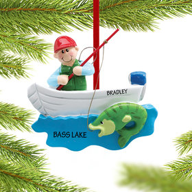Personalized Fisherman in Boat Christmas Ornament