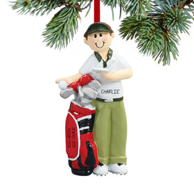 Personalized Male Golfer with Golf Bag Christmas Ornament