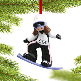 Personalized Snowboarder Girl Christmas Ornament