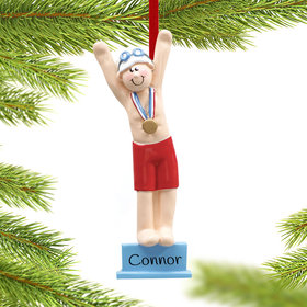 Personalized Swimmer or Diver Boy Christmas Ornament