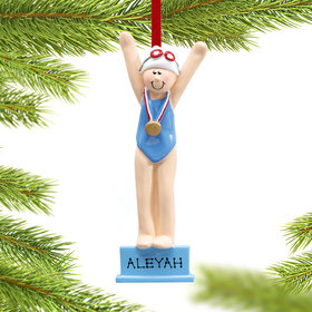 Personalized Swimmer or Diver Girl Christmas Ornament