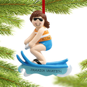 Personalized Waterskier Girl Being Pulled Behind A Boat Christmas Ornament