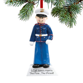 Personalized Marine Service Military Man Christmas Ornament