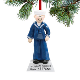 Personalized Navy Service Military Man Christmas Ornament