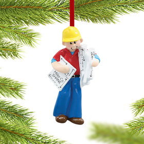Personalized Architect or Construction Foreman Christmas Ornament