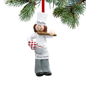 Personalized Female Chef with Tasting Spoon Christmas Ornament