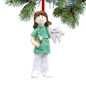 Personalized Dentist or Hygienist Female Christmas Ornament