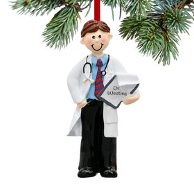Personalized Doctor Male Holding a Patient Chart Christmas Ornament