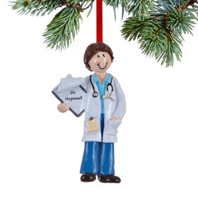 Personalized Doctor Female Holding a Patient Chart Christmas Ornament