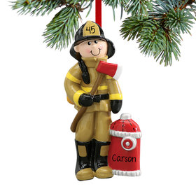 Personalized Fireman Holding an Axe by Red Fire Hydrant Christmas Ornament