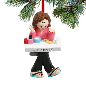 Personalized Manicurist Painting Nails Christmas Ornament