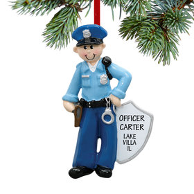 Personalized Policeman with Handcuffs Christmas Ornament