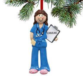 Personalized Female Physician Assistant, Nurse, EMT Christmas Ornament