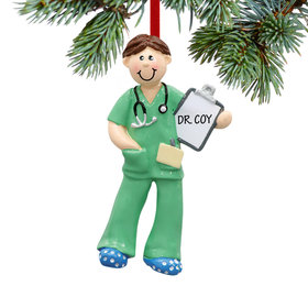 Personalized Male Physician Assistant, Nurse, EMT Christmas Ornament