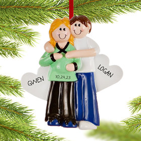 Personalized Pregnant Couple with Baby Bump Christmas Ornament