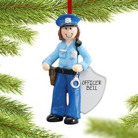 Personalized Policewoman with Handcuffs Christmas Ornament