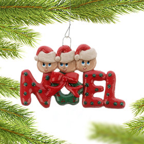 Noel Family of 3 Christmas Ornament