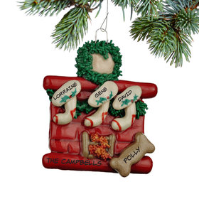 Personalized Fireplace 3 Stockings with Bone Christmas Ornament