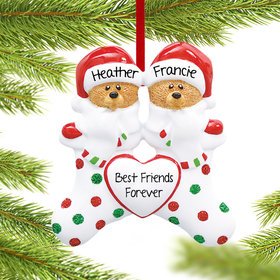 Personalized Stocking Bear Friends Christmas Ornament