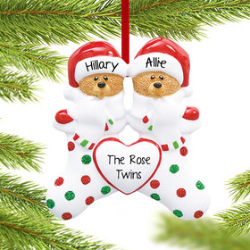 Personalized Stocking Bear Sisters Christmas Ornament
