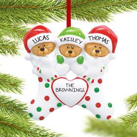 Personalized Stocking Bears 3 Christmas Ornament