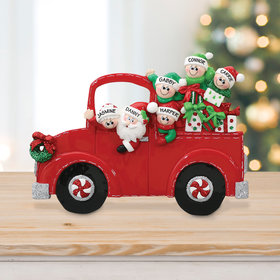Personalized Santa's Truck 4 Children Tabletop Christmas Ornament
