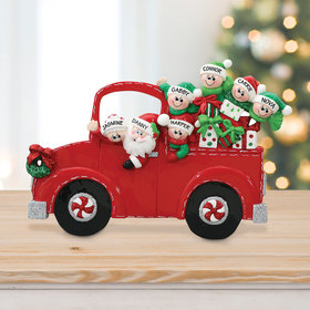 Personalized Santa's Truck 5 Children Tabletop Christmas Ornament