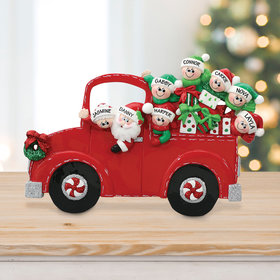 Personalized Santa's Truck 6 Children Tabletop Christmas Ornament