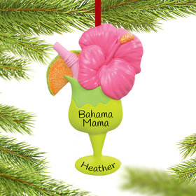 Personalized Tropical Drink Christmas Ornament
