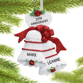 Personalized Personalized Anniversary Wedding Bells Christmas Ornament
