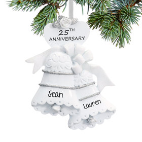 Personalized 25th Anniversary Bells Christmas Ornament