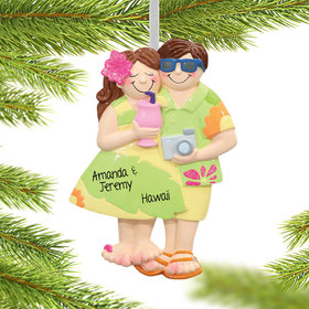 Personalized Tropical Tourist Couple Christmas Ornament