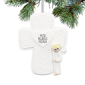 Personalized Cross Boy Christmas Ornament