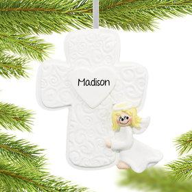 Personalized Cross Girl Christmas Ornament