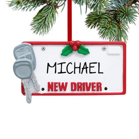 Personalized License Plate with Keys Christmas Ornament
