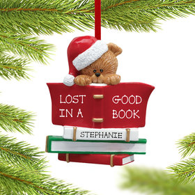 Personalized Book Club Bear Wearing A Santa Hat Christmas Ornament