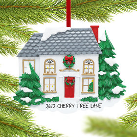 Personalized White House with Pine Trees Christmas Ornament