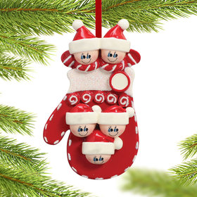 Mitten Family of 5 Christmas Ornament