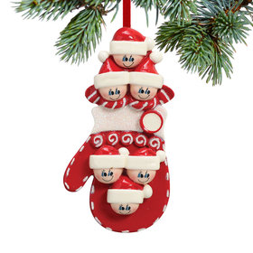 Mitten Family of 6 Christmas Ornament