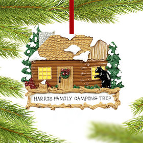 Personalized Log Cabin Christmas Ornament