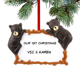 Personalized Two Black Bears Christmas Ornament