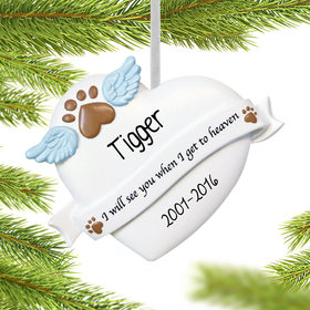 Personalized Pet Memorial Heart Christmas Ornament