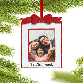 Personalized Bow Photo Frame Christmas Ornament