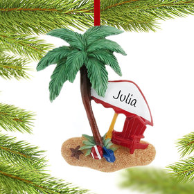 Personalized Day at the Beach Christmas Ornament
